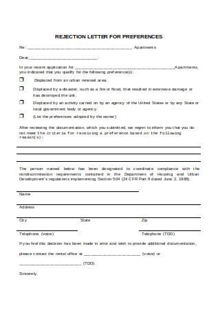 Rejection Letter for Preference