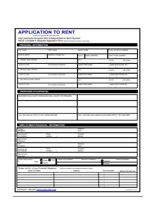 Rent Application Form