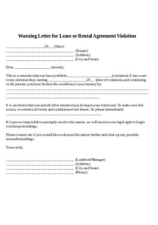 Rental Agreement Warning Letter