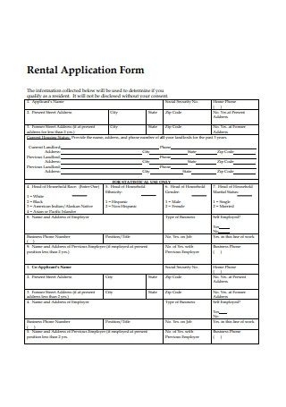 Rental Application Form Format