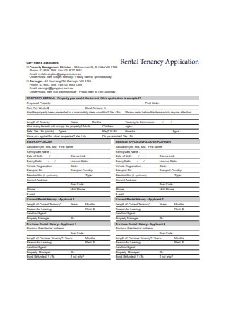 Rental Tenancy Application Form