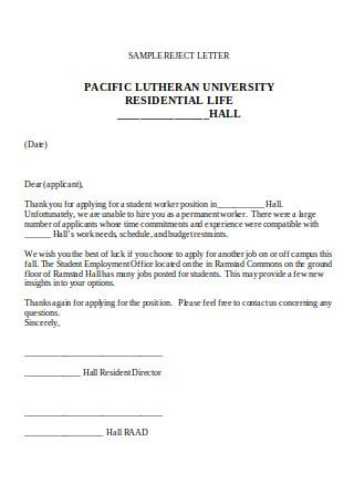Resident Rejection Letter