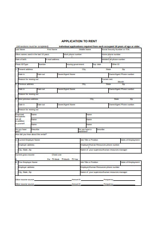 Residential Application Form for Rent