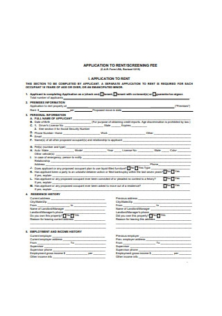 Residential Application Form for Rent Sample