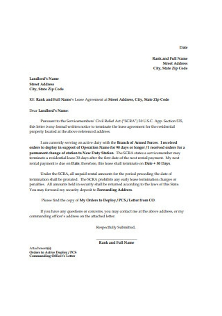 Residential Lease Termination Letter