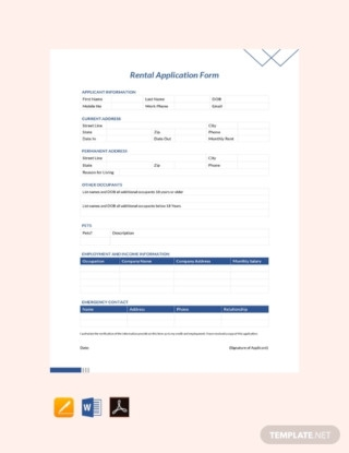 Residential Rental Application Form Sample