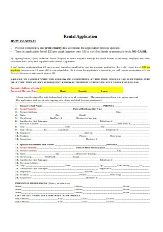 Residential Rental Application Form in DOC