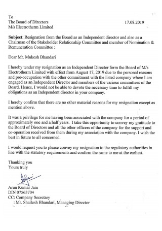 Resignation Letter from Board of Director