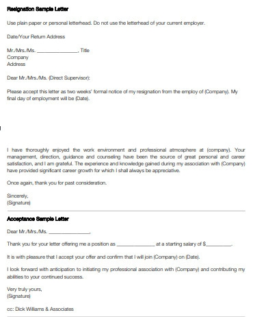 Resignation and Acceptance Sample Letters