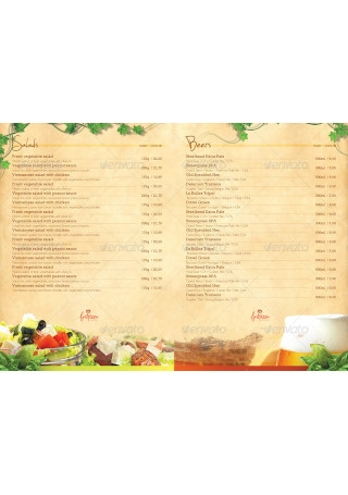 Restaurant Menu Design Postcard