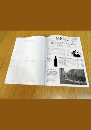 Restaurant Menu Newspaper Style