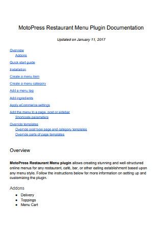 Restaurant Menu Plugin Documentation