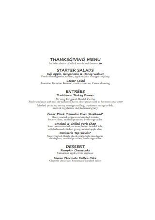 Restaurant Thanksgiving Menu
