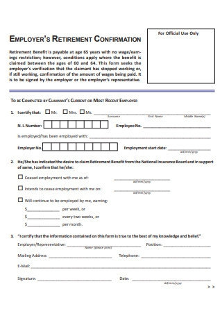 Retirement Letter Form