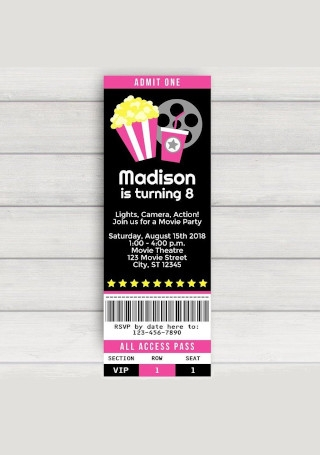 Retro Movie Ticket Invitation