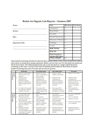 Rubric for Organic Lab Report