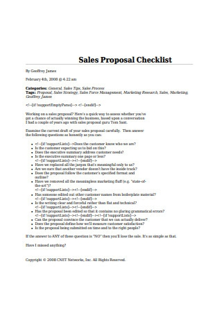 Sales Proposal Checklist