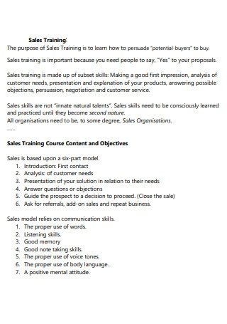 Sales Training Proposal