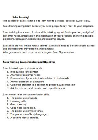 Sales Training Proposal