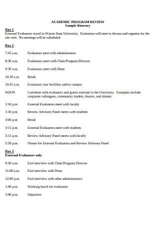 Sample Academic Program Itinerary