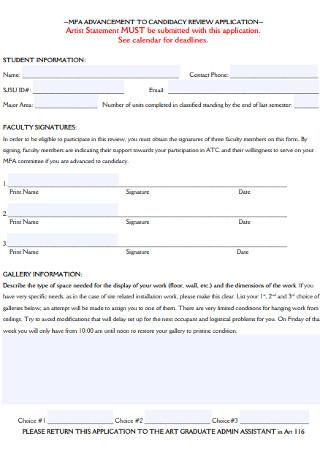 Sample Artist Statement Application