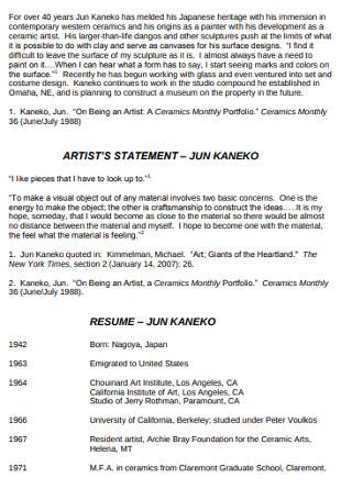 Sample Artist Statement Resume