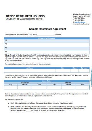 Sample College Student Roomate Agreement