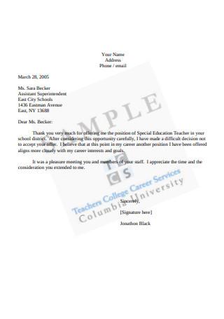 Sample Decline Offer Letter