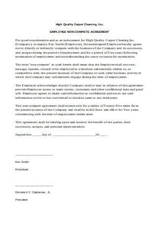 Sample Employee Non Compete Agreement