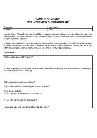 Sample Exit Interview Form Format