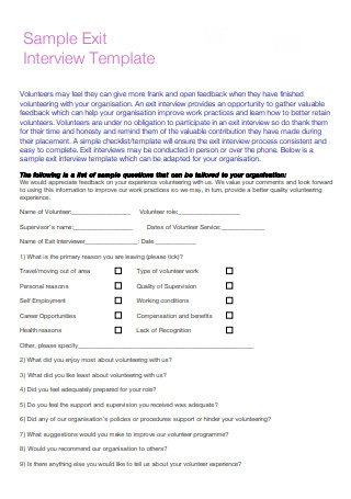 Sample Exit Interview Templates