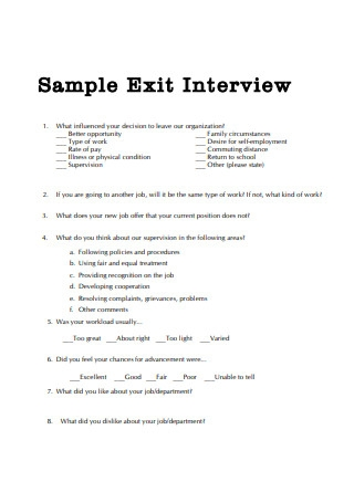 Sample Exit Interview