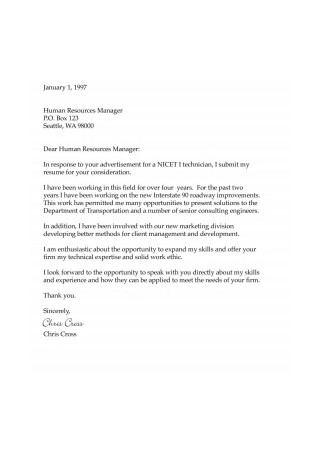 Sample HR Written Cover Letter