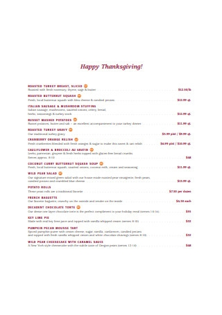 Sample Happy Thanksgiving Menu in PDF