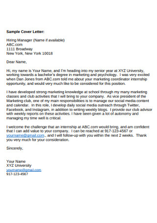 Sample Hiring Manager Cover Letter Example