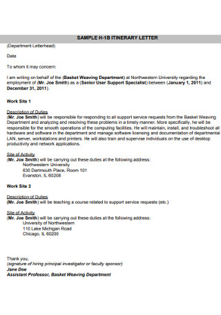 Sample Itinerary Letter Template