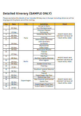 Sample Itinerary in PDF