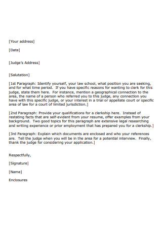 Sample Judicial Clerkship Cover Letter
