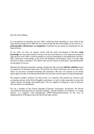 Sample Law Office Introduction Letter