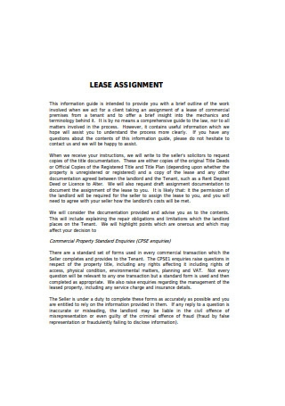 Sample Lease Assignment