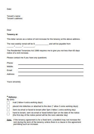 Sample Letter for Rent Increase