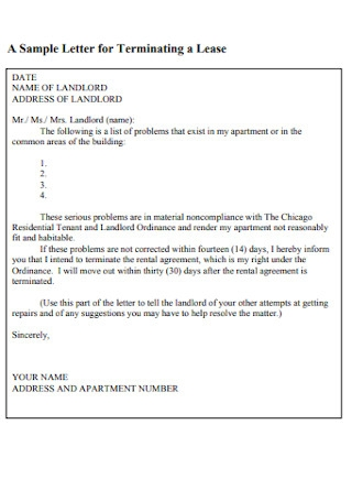 Sample Letter for Terminating Lease