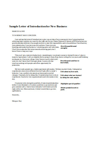 Sample Letter of Introduction for New Business