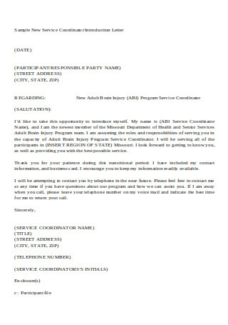 Sample New Service Coordinator Introduction Letter