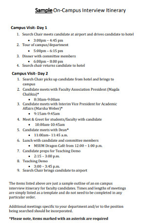 Sample On CampusInterview Itinerary