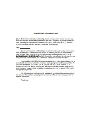 Sample Patient Termination Letter