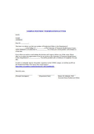 Sample Postdoc Termination Letter