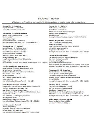 Sample Program itinerary