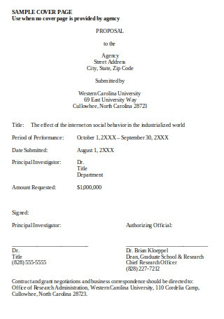 Sample Proposal Cover Page Format