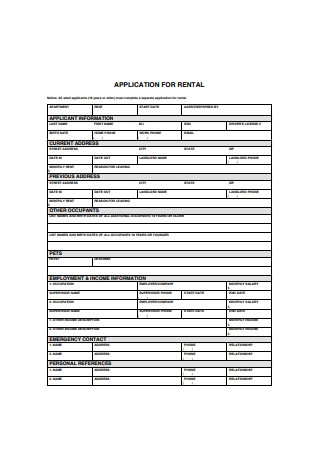 Sample Residential Application for Rental